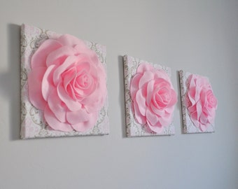 "Wall Art -SET OF THREE Light Pink Roses on White Taupe and Light Pink Damask 12 x12"" Canvas Wall Art- 3D Flower Art"
