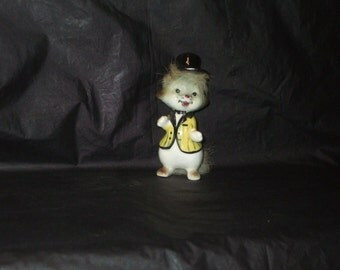 Vintage Japan ADORABLE Kitty Cat Figurine with Top Hat and Fur Trim