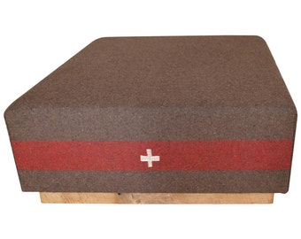 Swiss Army Blanket, c 1960s, as Ottoman Coffee Table