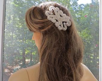 Rhinestone Beaded Comb, Crystal Wedding  Headpiece, Bridal Applique Headpiece