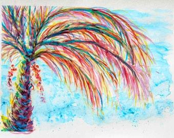Turquoise Pink Palm Tree Beach Ocean nautical scene vacation life WaterColour Print 8x12