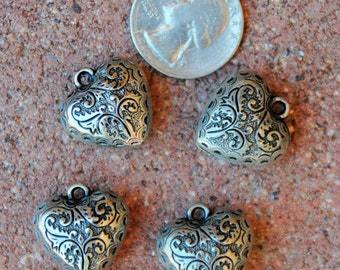4 Indian Etched Metal Hearts