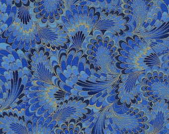 Kaleidoscope Abstract Endpaper in Denim - Timeless Treasures - 1 yard - More Available - BTY