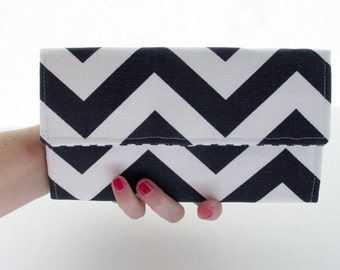 Navy and Mustard Chevron Wallet