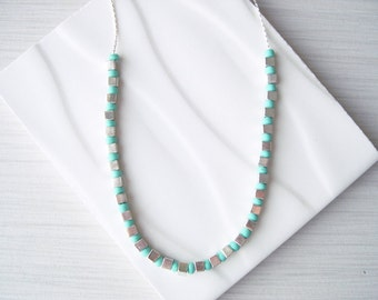 Turquoise Seed Bead Necklace - Modern Jewelry, Silver Cubes, Contemporary, Aqua Blue, Long
