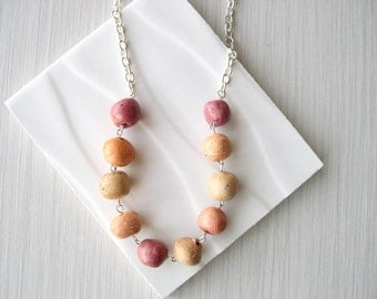 Rustic Jewelry - Ceramic Necklace - Rust, Orange, Beige, Red, Silver, Earthy, Artsy, Adjustable, Funky, Autumn, Fall