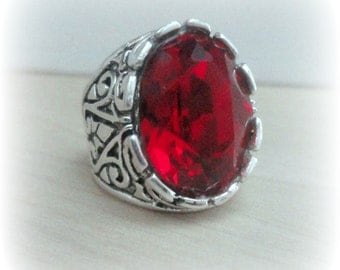 Gothic Jewelry - Red Crystal Ring - Red Jewelry - Red Swarovski Crystal Ring - Red Vampire Ring - Red Gothic Ring - Silver Victorian