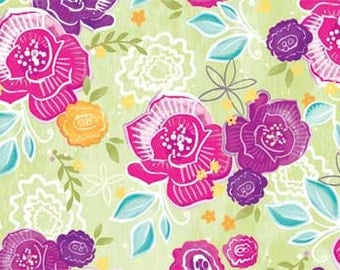 Gratitude Blooms Floral from Red Rooster Fabrics - Full or Half Yard Whimsical Pink and Purple Flowers on Light Green