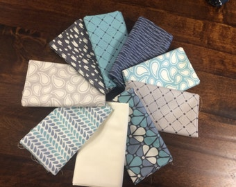 Zoey from Camelot Cottons - 9 Fat Quarters or Half Yard Cuts Modern Geometric Teal, Gray and Cream