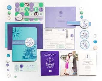 The Lindsey Passport and Boarding Pass Cruise Wedding Invitation