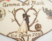 Halloween Wedding Cake Topper, bride and groom, Silhouette, Wood, Heart cake topper, Rustic, Gift for Couple, Pyrography, PERSONALIZABLE