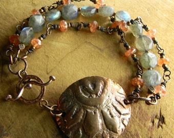 Copper Bracelet Sunstone Labradorite Rustic Beaded Southwestern Jewelry