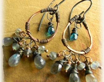 Bohemian Jewelry Copper Chandelier Earrings Blue Zircon Labradorite
