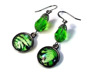Emerald Green Dangle Earrings, Fern, Leaf, Nature Lovers Gift, Woodland, in Gunmetal