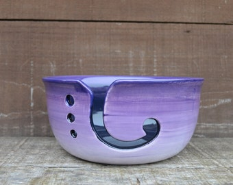 Purple Ombre Large Ceramic Yarn Bowl - Bright Colorful Gradient Design - Shades of Purples