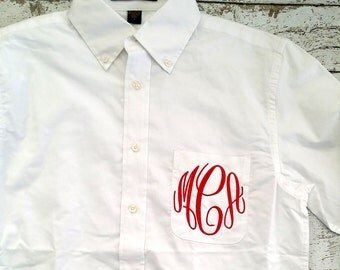 Monogrammed Bridal Party Shirt, Bridesmaid Pocket Shirt