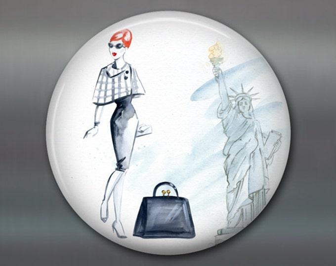 "3.5"" fashion art magnet, new york, broadway decor womens fashion magnet kitchen decor, house warming gift, big magnet for fridge MA-FASH-5"