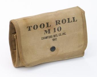 US WWII MilitaryTool Roll M10 Khaki Canvas Multi Use Bag