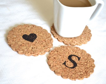 Monogramed Doily Shaped Cork Coasters - set of 4 personalized scalloped coasters