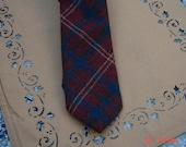 Vintage Wembley Slip Stitch Wool Plaid Necktie - Hipster Cool