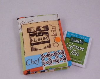 Chef's Tea Wallet, Tea Bag Wallet, Cooking Theme, Cooking Deco, Made in Maine USA