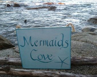 Hand Painted Rustic Reclaimed Wood Mermaid Cove Sign, Girls Room, Home And Living, Bathroom Wall Decor, Coastal Cottage Beach Home decor