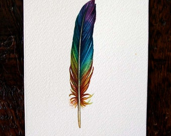 Rainbow Feather - Original Watercolor Painting