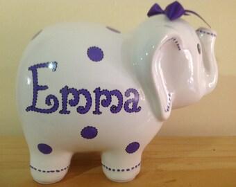 Personalized Large Elephant Piggy  Bank Purple Polka Dots Newborns , Birthday,Girls, Ring Bearer, Flower Girl,Baby Shower Gift Centerpiece