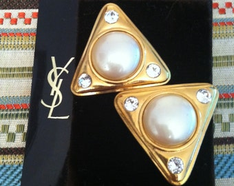 Goldtone Triangle Pearl and Rhinestone Vintage YSL 14K Post Earrings NOS