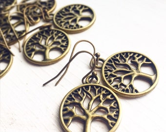 Pick 3-7 Pairs Tree of Life Earrings / Bridesmaids Gifts Bridal Party Wedding Shower Favors Rustic Country Themed Event Team Group Boho