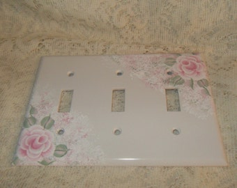 Shabby Cottage Chic Hand Painted Pale Rose Three Switch Light Cover