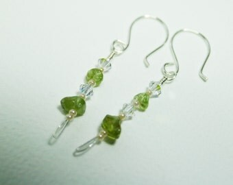 Gemstone Earrings Sterling Silver Earrings Green Peridot Earrings Swarovski Crystal Earrings - srajd -Trendy Jewelry Eva Barkman Designs