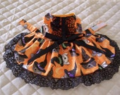 XS-S Dog Dress Sparkling Orange Halloween Dogs Witches Hats Bow Clothes Handmade
