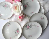 Pink Rose Plates Fine China of Japan Golden Rose Bread and Butter Plates Set of Six - Vintage Charm