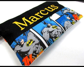 Handmade pencil pouch with zipper - Batman in blue - superhero - embroidery monogram name - storage bag - back to school - unisex gift ideas