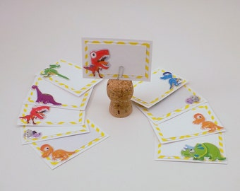 Dinosaur Notecards or Place Cards with White Envelope Set of 10 Birthday Party Blank Cards
