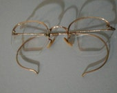 Vintage Rimless Gold Filled Octigon  Glasses w Case