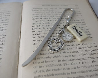 FAMILY Bookmark Personalized with Mini Domino silver-tone charm dictionary glass gem charm Kristin Victoria Designs Mom Personalized Gift