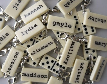 Custom Name Custom Word Charm Mini Domino Clip-on Pendant customized personalize You Choose the Word by Kristin Victoria Designs