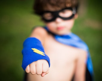 Childrens Superhero Lightning Bolt Fingerless Glove Accessory Set - make believe gift - READY TO SHIP - Hero Arm Bands - Halloween Ready