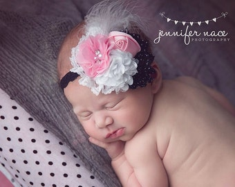 Fine and Dandy - black white and pink polka dot chiffon and rosette headband