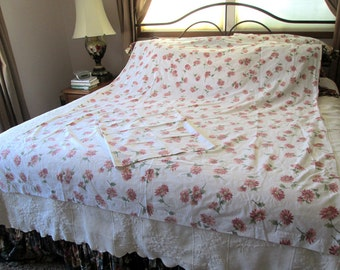 Full Size Floral Flat Sheet and Pillowcase