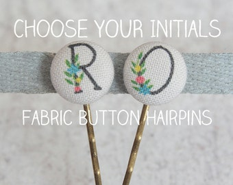 Choose Your Initials Fabric Covered Button Bobby Pin Pair