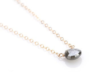Teardrop Stone Necklace in Black SILVERITE - NG31