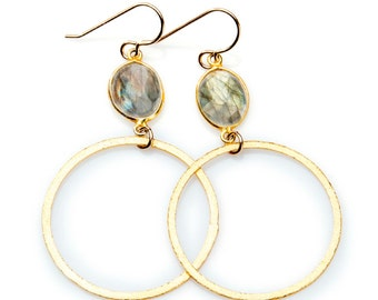 Labradorite Earring with Gold Vermeil Hoop Bezel Set Stone and Gold Filled Earwire - EG01