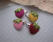 Strawberry Patch . mini snap clips . baby hair accessory . pink red yellow