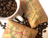 Unique Wedding Favors. Freshly roasted coffee favors with custom stamp. Made to order. Set of 50.