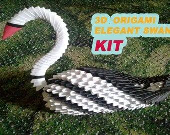 3d origami elegant swan KIT
