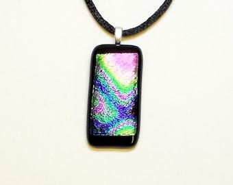 Rainbow Foil Fused Glass Dichroic Pendant
