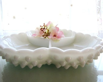 Vintage Fenton Milk Glass Hobnail Divided Relish Dish Candy Dish Mid Century Home Decor from AllieEtCie